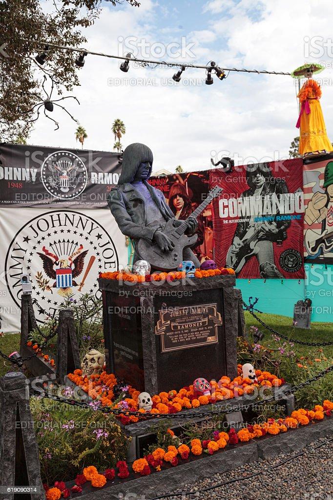 alter for Johnny Ramone at Dia de los Muertos stock photo