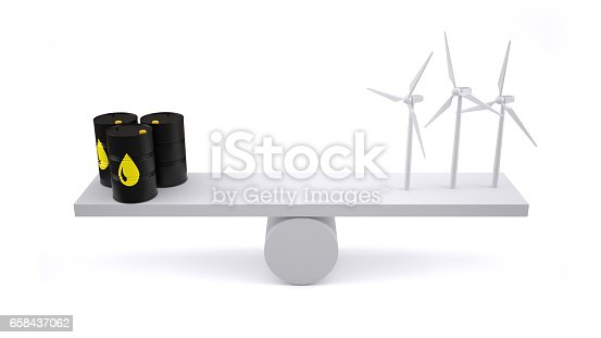 Oil barrels and wind turbines on white background.
