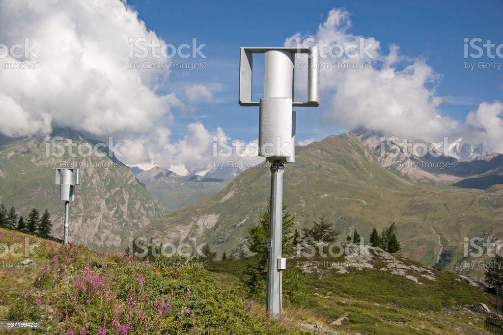 Alternative energy in the Montblanc mountains stock photo