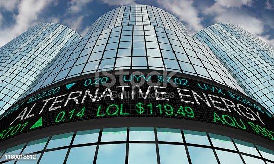 Alternative Energy Power Stock Market Industry Sector Wall Street Buildings 3d Illustration