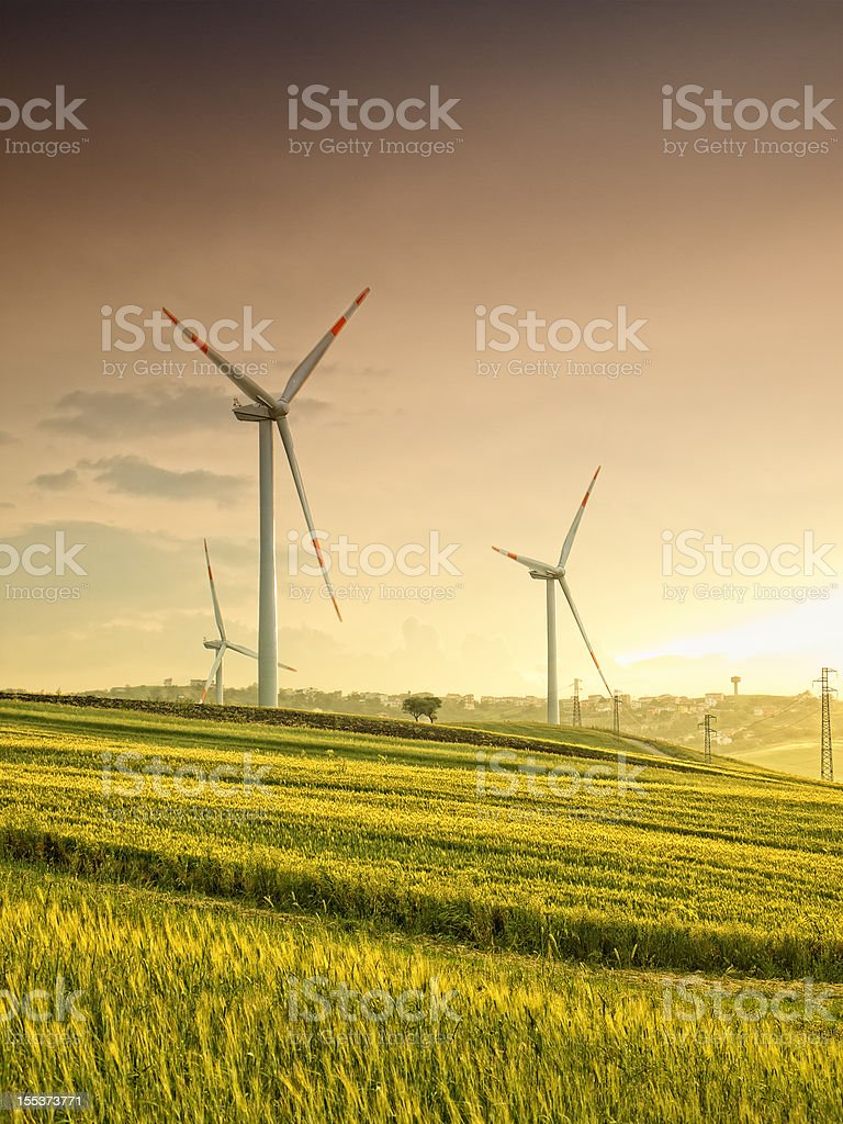 Alternative energy, wind turbine and field royalty-free stock photo