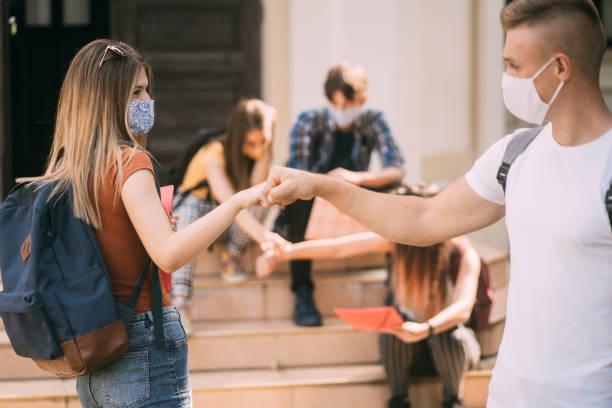 Alternative greeting during coronavirus epidemic. stock photo