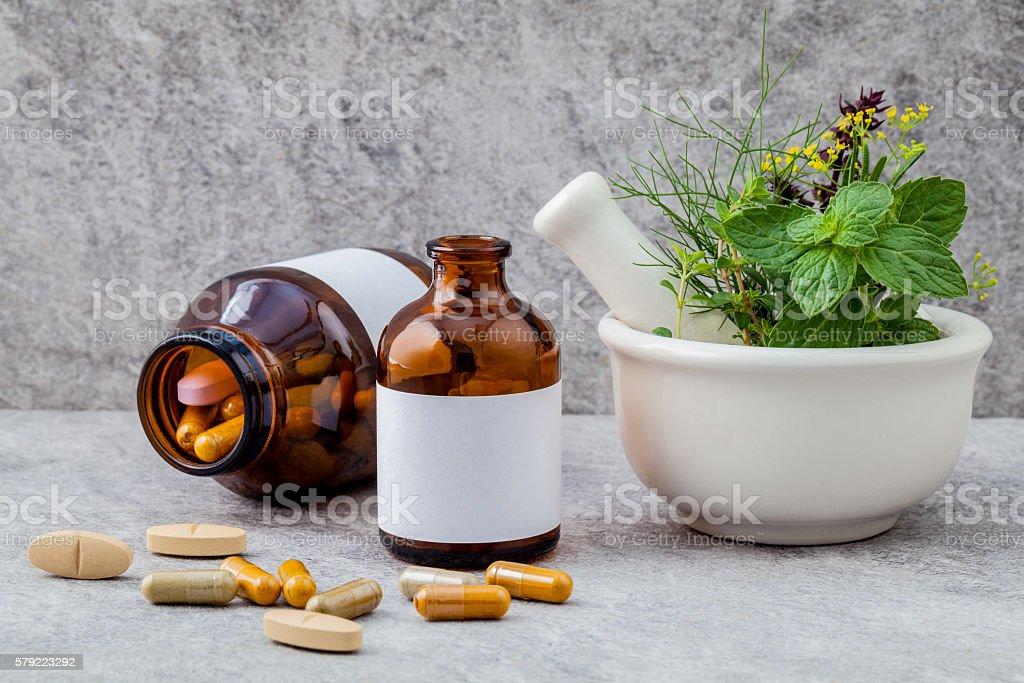 Alternative health care fresh herbs  rosemary ,lemon thyme ,fenn stock photo