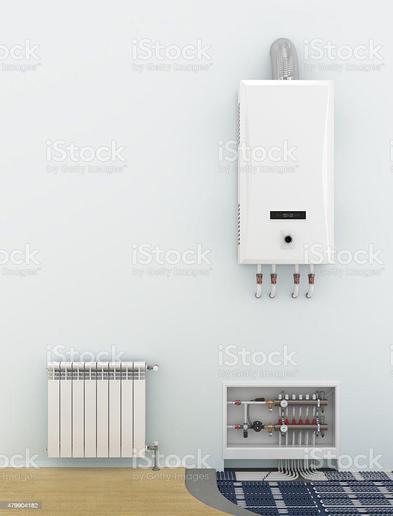 Alternative heating underfloor. stock photo