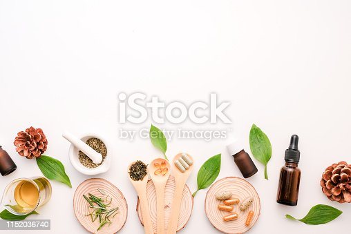alternative herb medicine with herbal the organic natural in the laboratory. oil capsule, natural organic.food nutrition healthy and wellness.