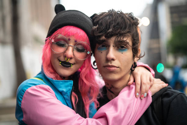 Alternative Lifestyle Young Couple Portrait Real People goth stock pictures, royalty-free photos & images