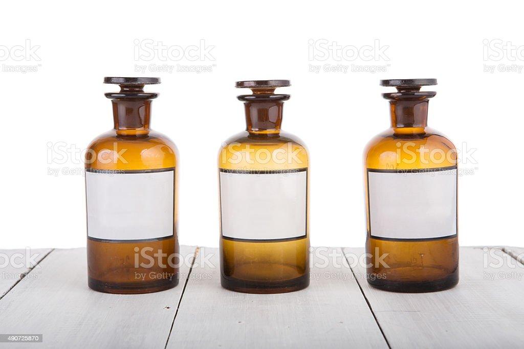 Alternative medicine bottels with blank labels stock photo