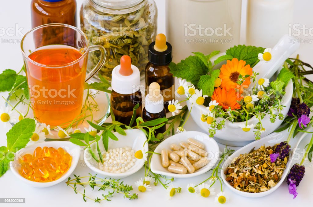 Alternative Medicine. Herbal Therapy. Rosemary, mint, chamomile,...
