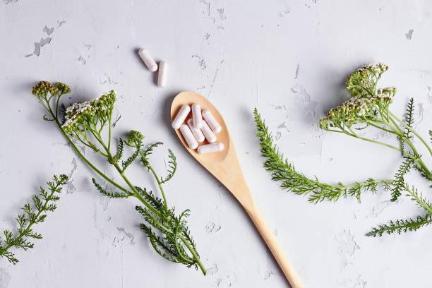 Alternative medicine, naturopath and dietary supplement stock photo