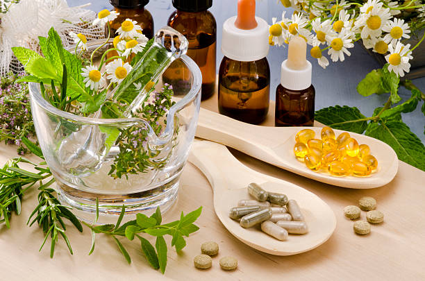 alternative medicine. - holistic medicine stock photos and pictures