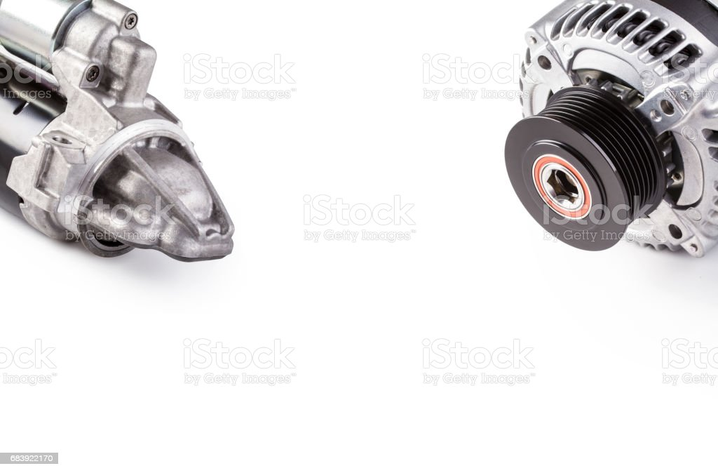 Alternator and starter for car isolated on white background stock photo