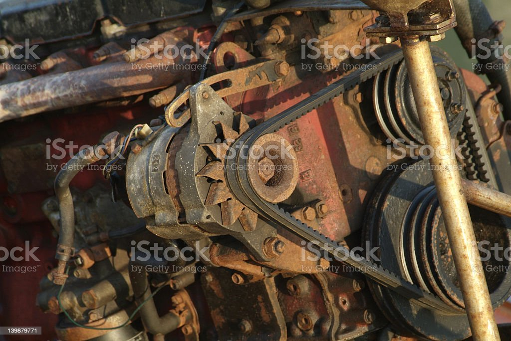 Alternator of rusty car engine stock photo
