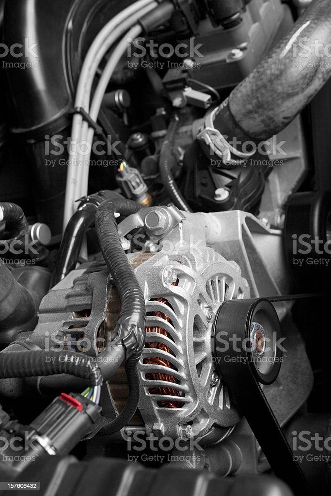Alternator on a Car Engine royalty-free stock photo