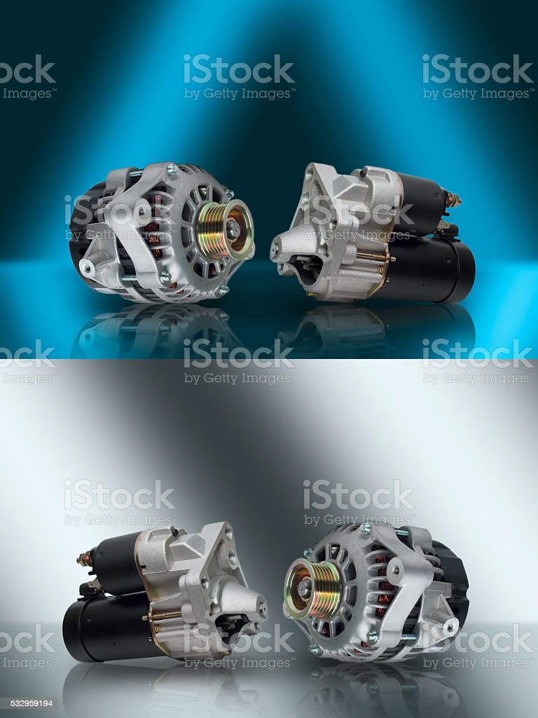 Alternator. Starter. Generator and starter. Car aggregates. Auto parts. stock photo