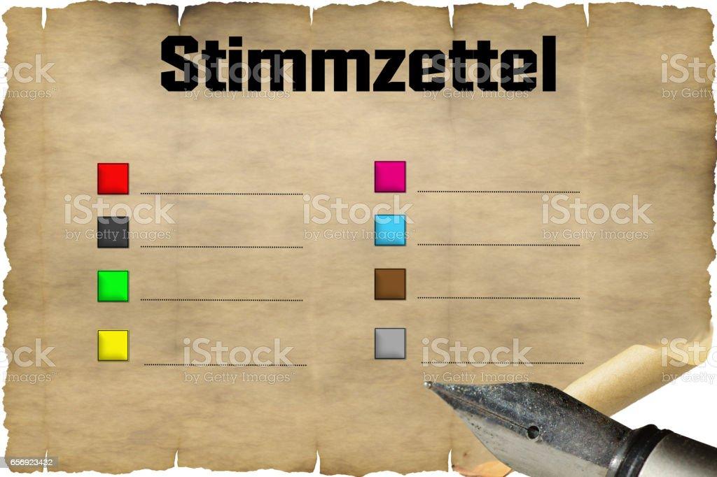 Altes Dokument als Wahlschein mit antiken Füllfederhalter. stock photo