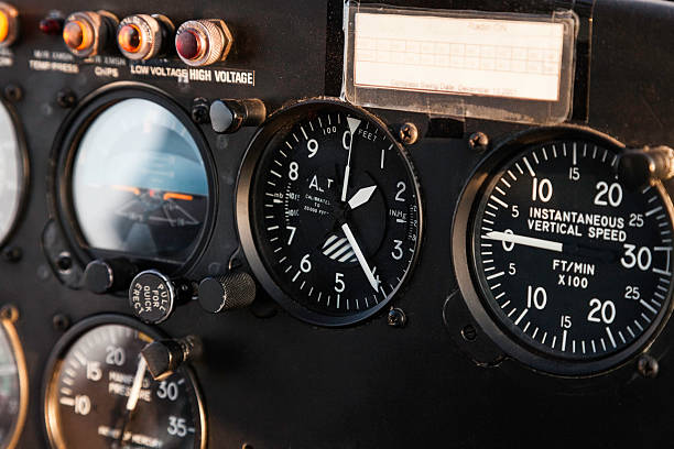 Altimeter, Variometer, and helicopter instrument panel while airborne stock photo