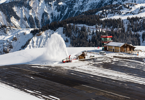 Altiport airport in an alpine mountain