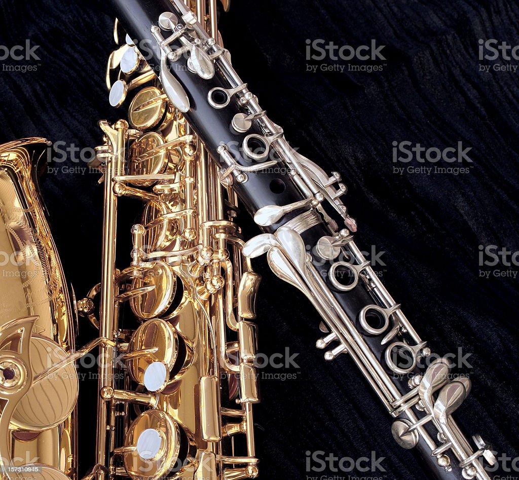 Alto Sax and Clarinet Closeup royalty-free stock photo