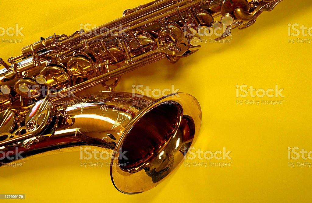 Alto Sax on Yellow royalty-free stock photo