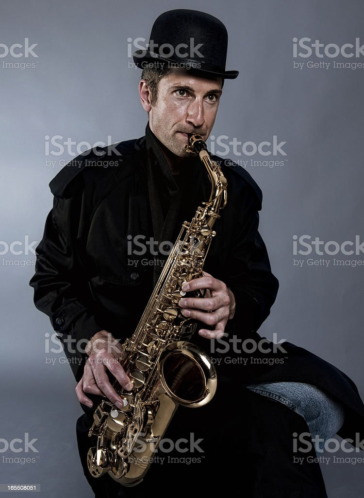 Alto Saxophone Player, Jazz Musician stock photo