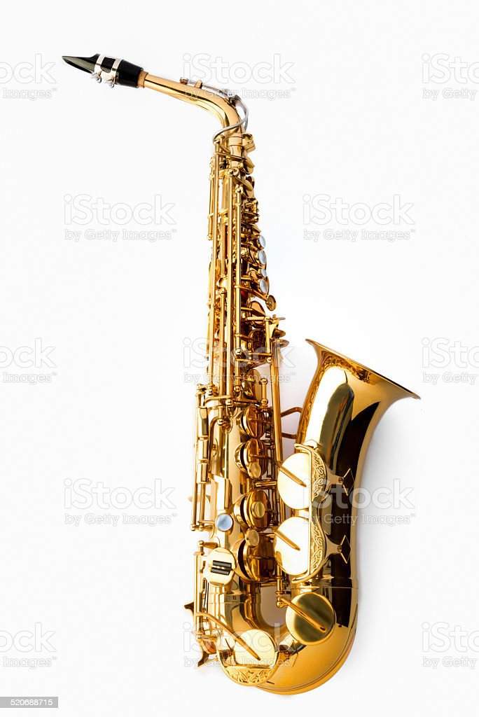 Alto saxophone, side view on white background stock photo