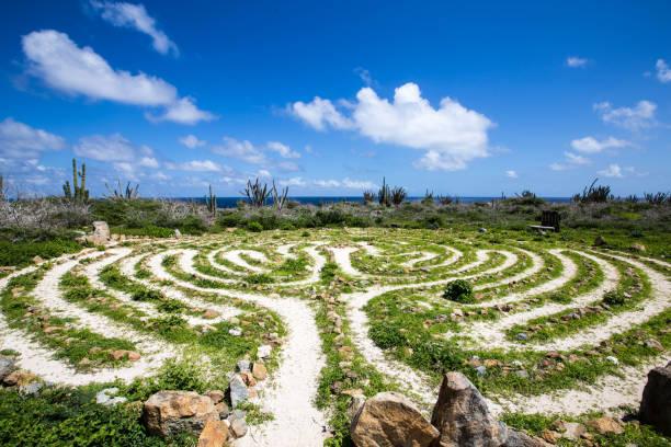 Alto Vista Chapel Labyrinth, Aruba stock photo