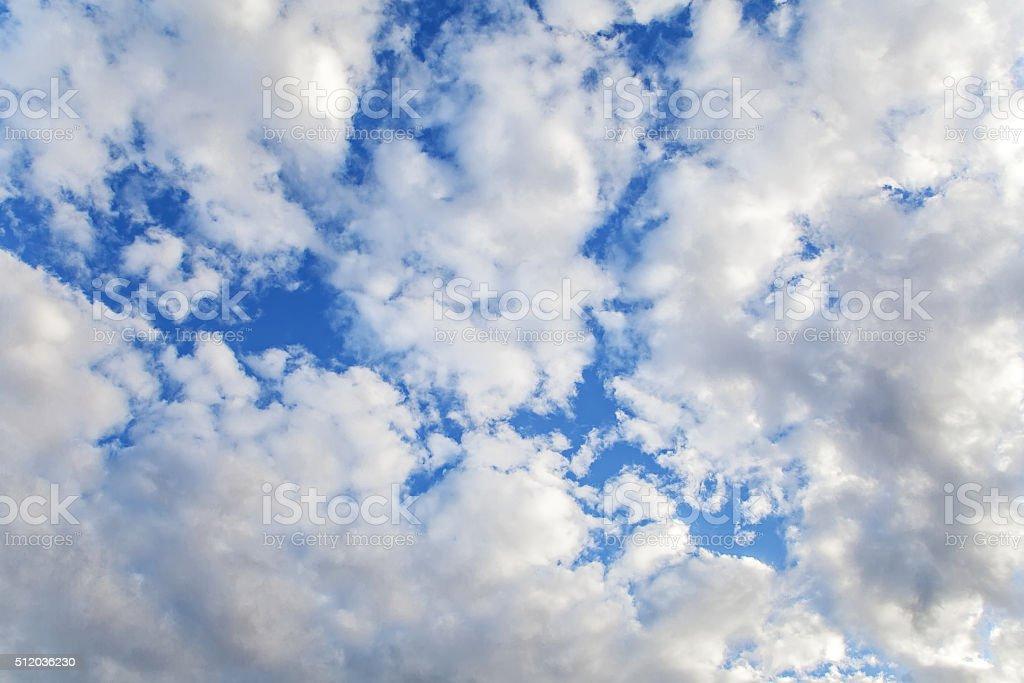 Altocumulus Cloud in blue sky on sunny peaceful day. stock photo
