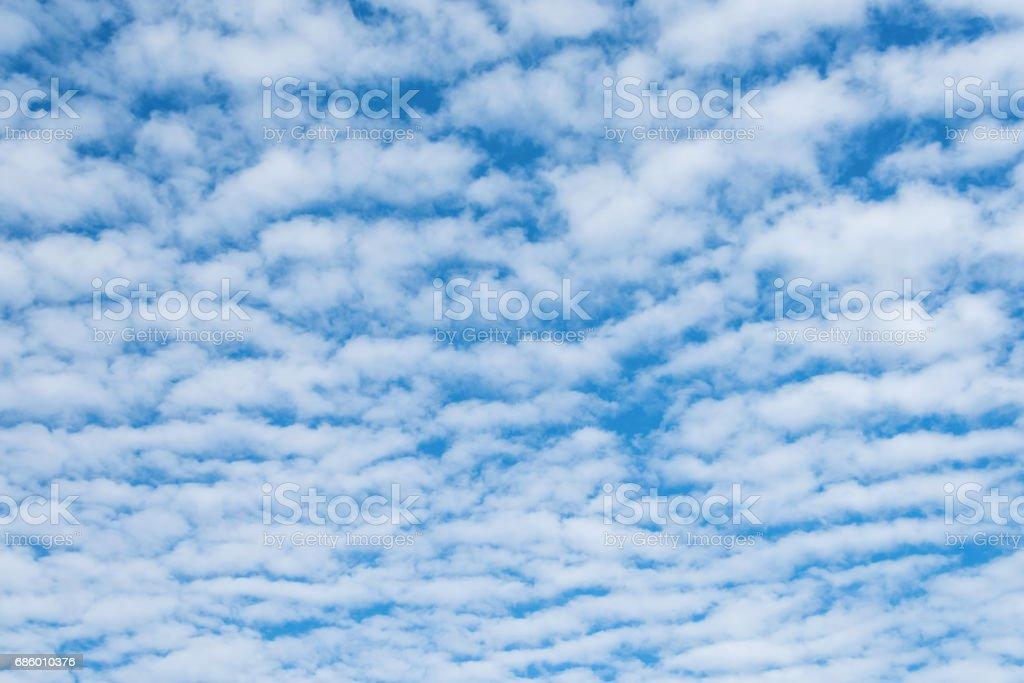 Altocumulus cloudscape on blue blue sky stock photo