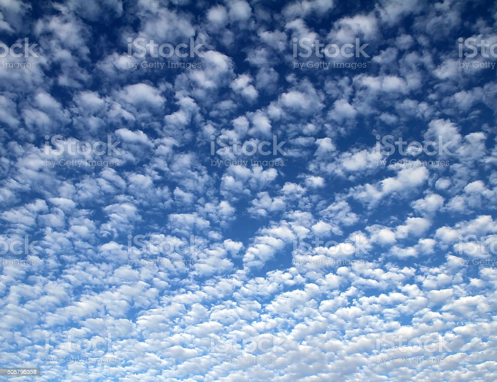 Altocumulusa clouds on a clear cool blue sky day stock photo