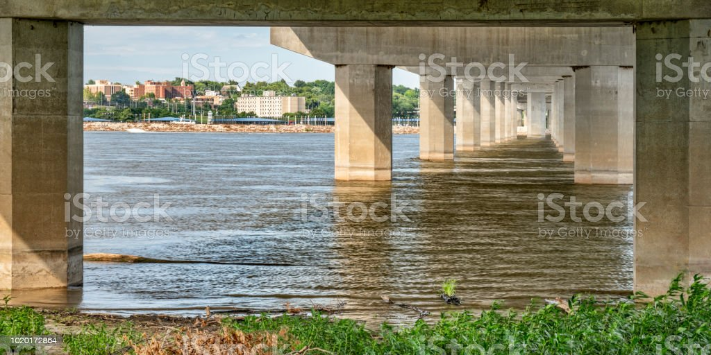 Alton cityscape and Mississippi River stock photo