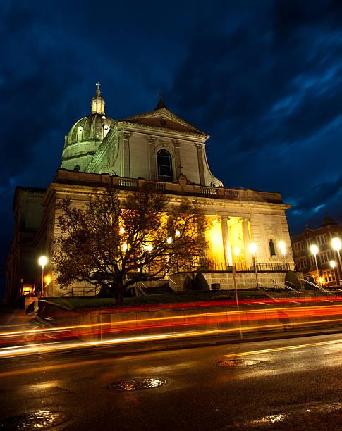 Altoona Pennsylvania Twilight Cathedral Street Photography Long Exposure stock photo