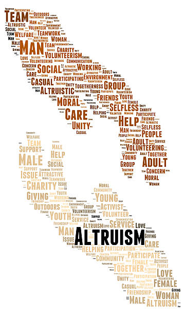 Altruism word cloud shape stock photo