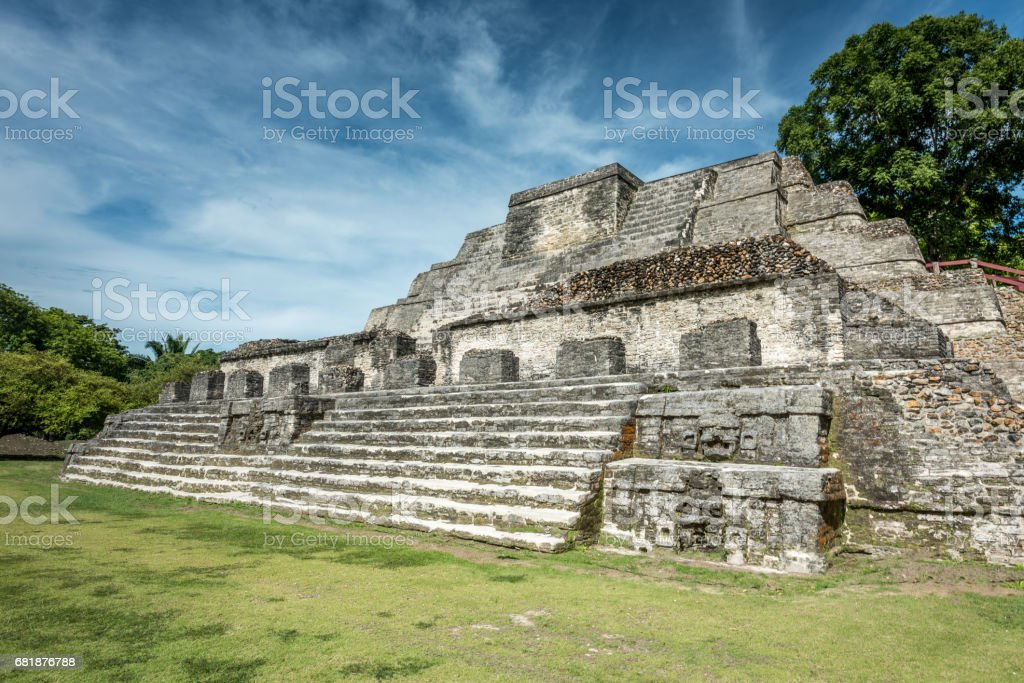 Altun Ha Belize Temple of the Sun God stock photo