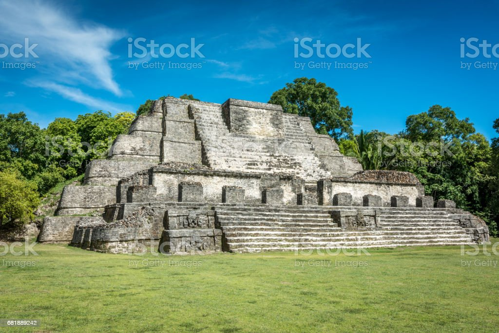 Altun Ha Mayan Temple Complex Belize stock photo