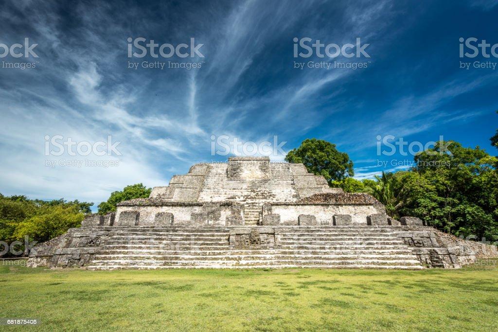 Altun Ha Temple of the Sun God Belize stock photo