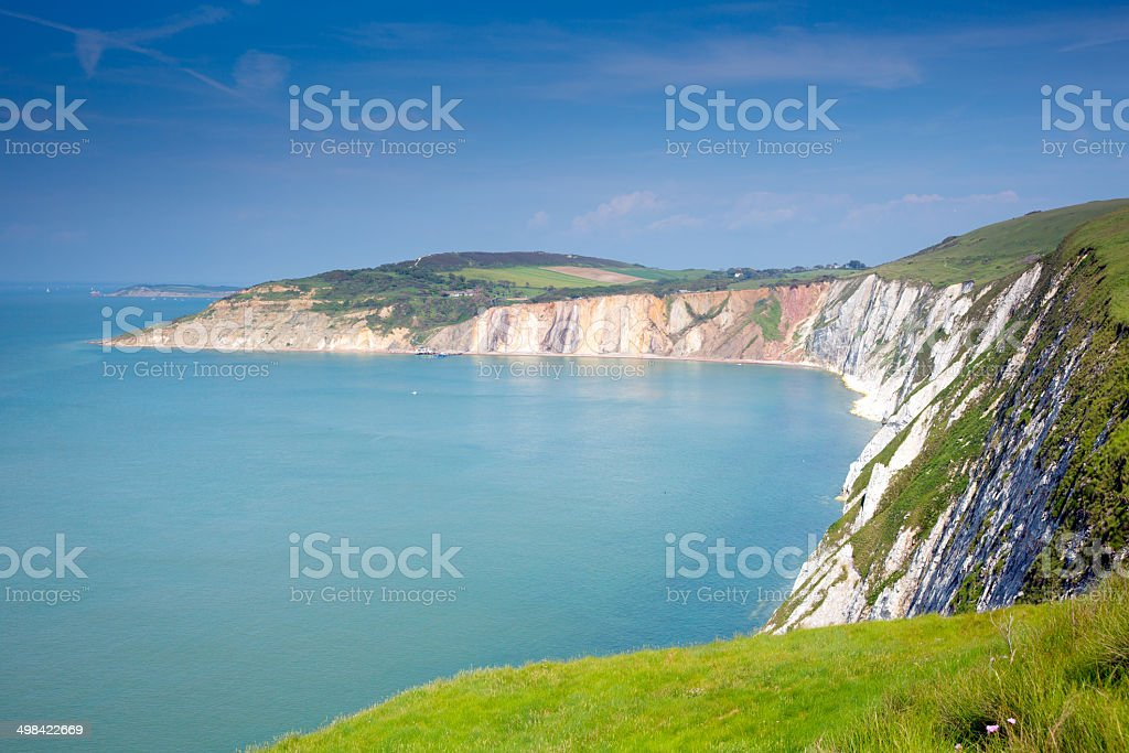 Alum Bay Isle of Wight by the Needles tourist attraction stock photo