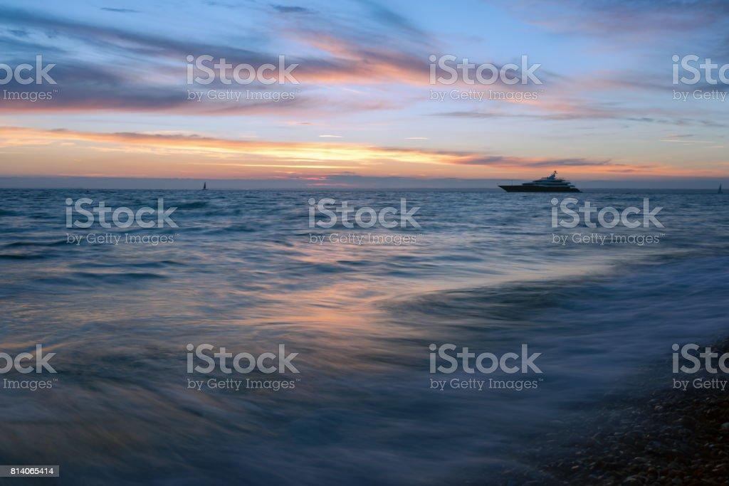Alum Bay sunset stock photo