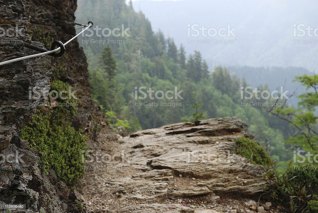 Alum Cave Trail and gripping cable in Smoky Mountains royalty-free stock photo
