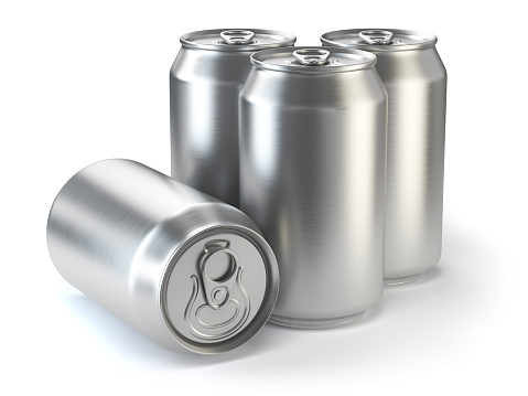 istock Aluminium beer cans  isolated on white. 606000674