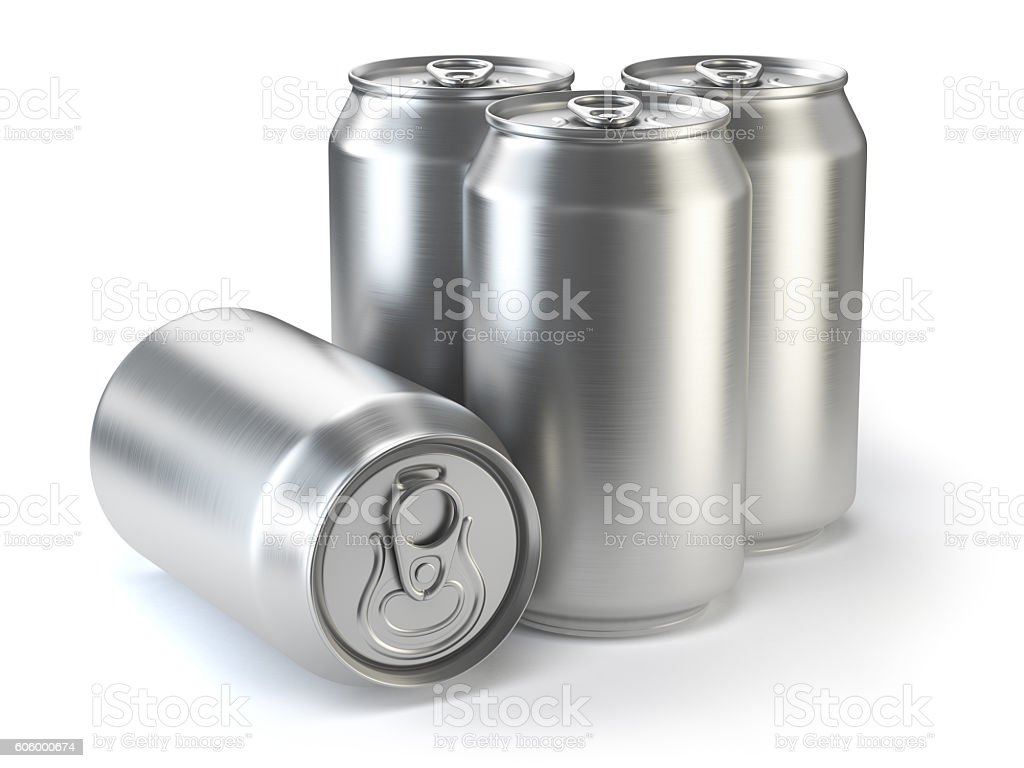 Aluminium beer cans  isolated on white. - foto de acervo