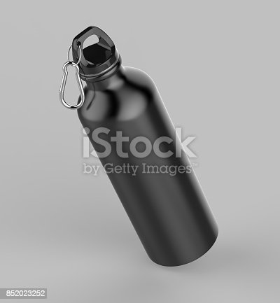 852024650istockphoto Aluminium black silver metal shiny sipper bottle for mock up and template design. 852023252