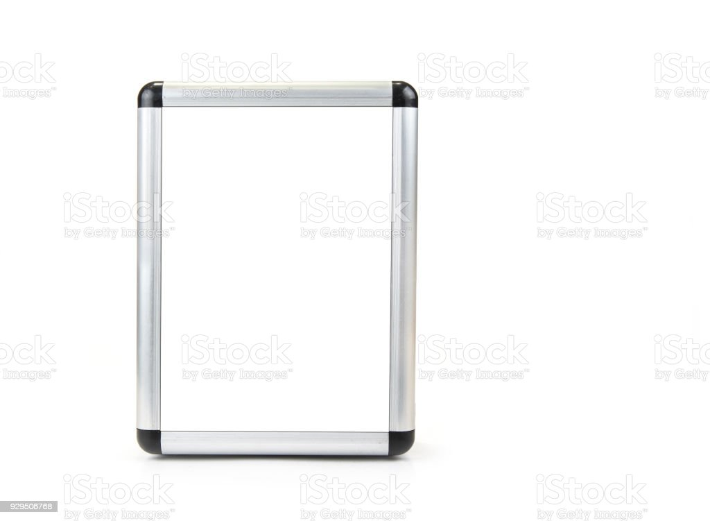 Aluminium blank frame for picture or text on the white stock photo