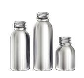 aluminium bottles isolated on a white. 3d illustration