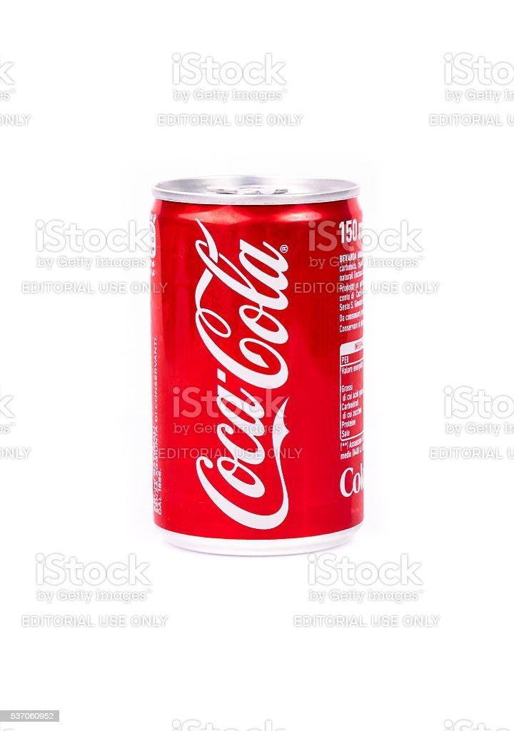Aluminium can of Coca-Cola stock photo