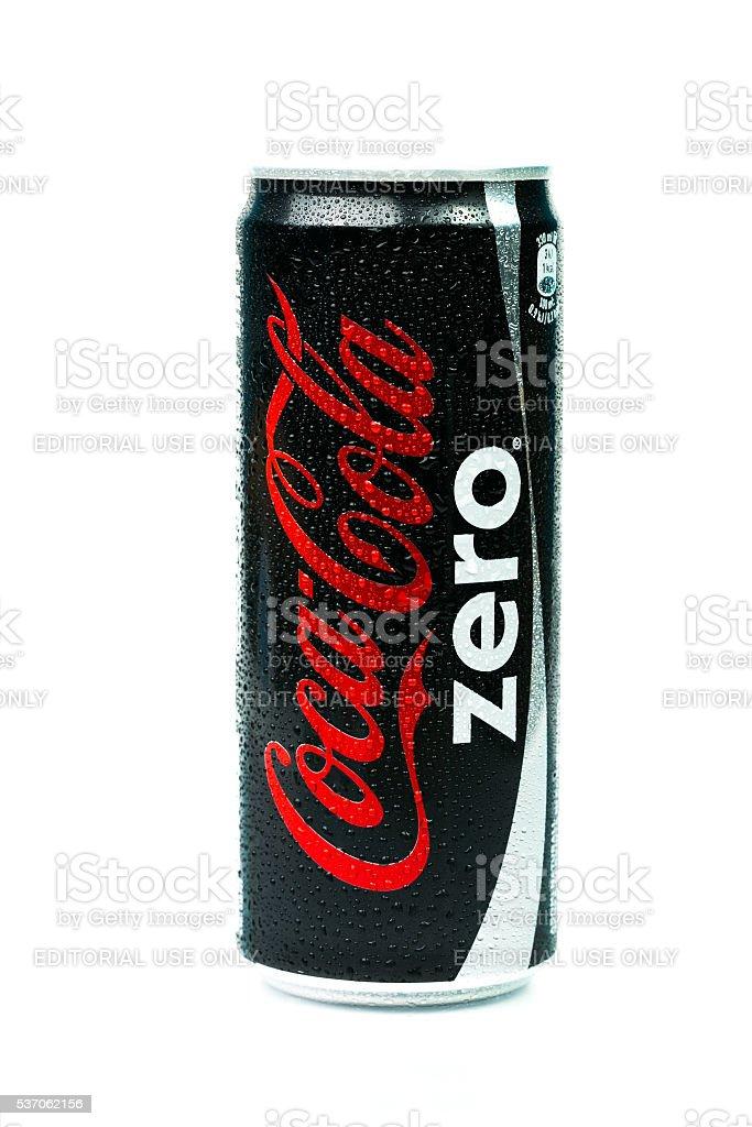 Aluminium can of Coca-Cola Zero. stock photo