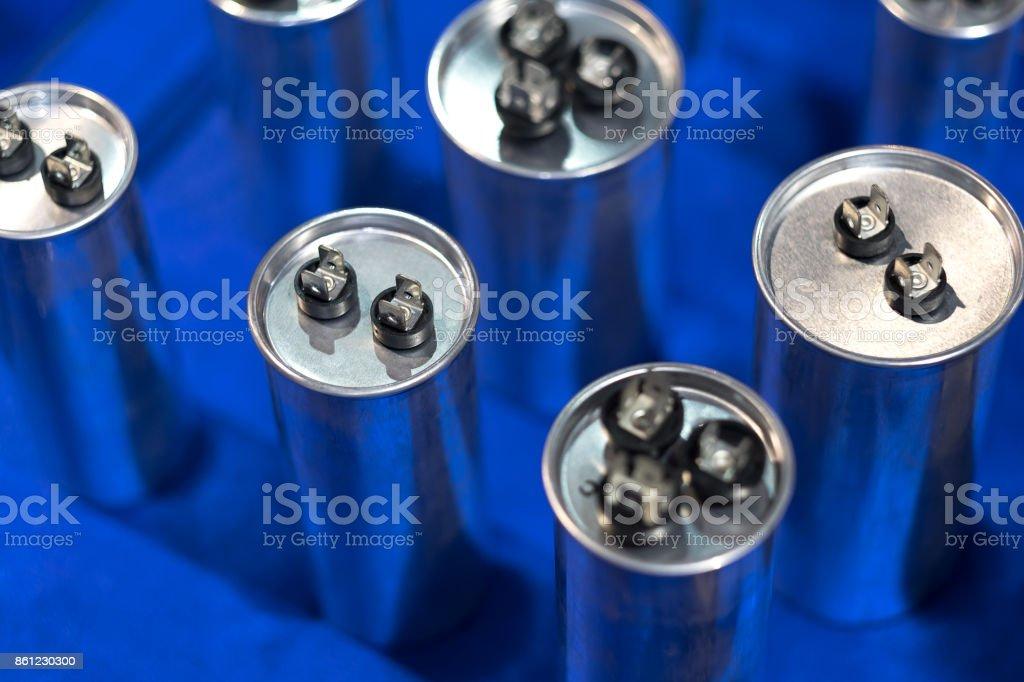 Aluminium can type Film Capacitors stock photo