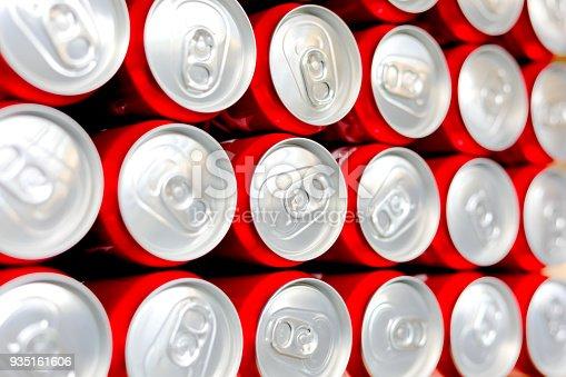 istock aluminium cans.Cover aluminum cans. Aluminum cans. Top view. Aluminum cans. 935161606