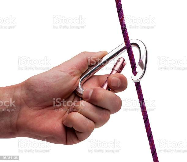Foto de Mosquetão De Alumínio Na Mão Humana e mais fotos de stock de Confiança