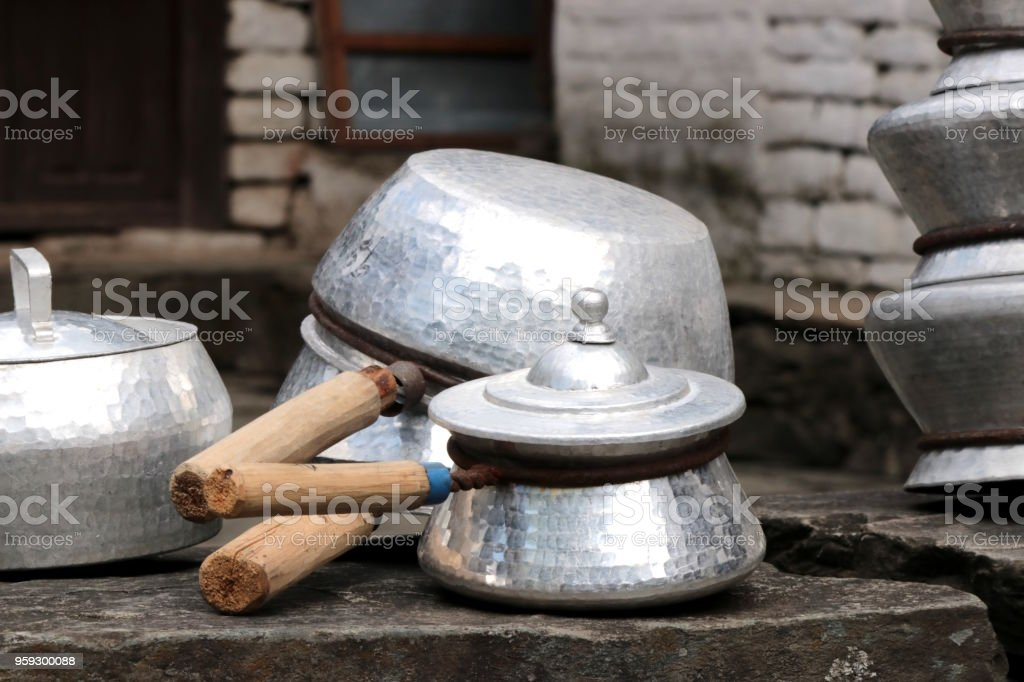 Aluminium cooking pans and pots in Nepal stock photo