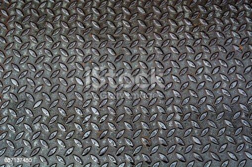 istock Aluminium dark list with rhombus shapes Stainless steel sheet 637137480